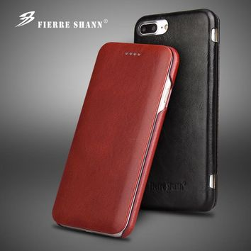 Fierre Shann Luxury Genuine Leather Case for Smasung Galaxy S8 Plus Flip Case for iPhone X Coque for iPhone 6 6S 7 8 Plus Case