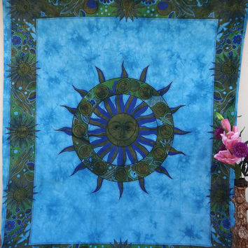 Indian Sun and moon tapestry, Tapestry hippie tapestry mandala tapestry picnic cloth indian tapestry boho tapestry dorm decor wall hanging