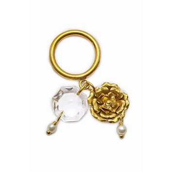 Crystal Dangling Charms Ring - Gold