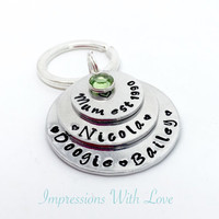 Mum keyring - hand stamped keychain - personalised stacked discs - mum est - name keepsake - Mother's Day - gift for her