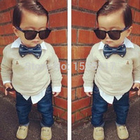 CL-038 Free shipping hot selling new style childrens clothing set kids bow shirt+pants kids 2 pcs suits boys clothes retail