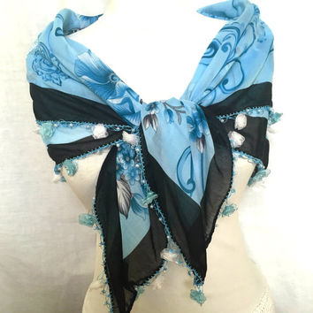 Blue Turkish Scarf Soft Elegant Shawl Cotton Scarf With Floral Motifs Mother's Day Gift Idea For Woman and teengirls Spring accessories