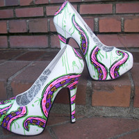 Hand painted Tentacles heels by ShArtdesign on Etsy