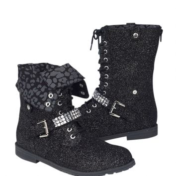 Glitter Foldover Combat Boots | Girls Boots Shoes | Shop Justice