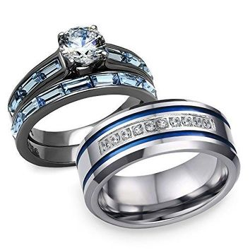 Bellux Style His and Hers 3 pcs Stainless Steel Romantic Blue Theme Couple Rings Wedding Band