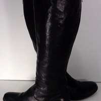 Frye Melissa Button Back Zip Black Leather Motorcycle Boots Women's Size 6