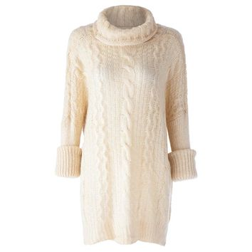 Stylish Turtleneck Cable-Knit Long Sleeve Sweater For Women