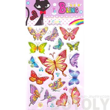 Colorful Decorative Butterfly Shaped Insect Themed Jelly Stickers for Scrapbooking