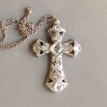 Large Rhinestone Cross Silver 28 inch Chain Necklace Silver Filigree Cross Cowgirl Glam Boho Necklace Bohemian Jewelry
