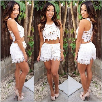 White Crochet Lace Sleeveless Cropped Top and Shorts Set