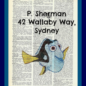 Buy Any 2 Prints get 1 Free P Sherman 42 Wallaby Way, Sydney Dory Finding Nemo  Hand Drawn Vintage Dictionary Art