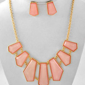 Pink Statement Necklace & Earring Set