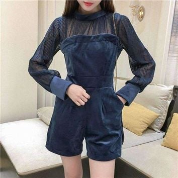ONETOW 2018 Spring Fashion Blue Zipper Perspective Pleated Chiffon Sexy Romper Women Velvet Chiffon Patchwork Playsuit