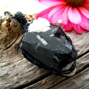 Tourmaline, Tourmaline Necklace, Black Tourmaline Quartz, Tourmaline in quartz , Healing Crystal necklaces, Macrame necklace, Psychic stone