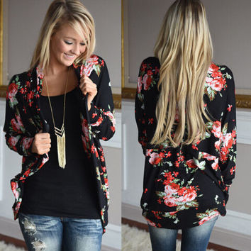 New Womens Rose Cardigan Loose Coat Gift-27