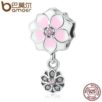 925 Sterling Silver Magnolia Bloom, Pale Cerise Enamel, Pink & Clear CZ Charms fit Bracelets DIY Jewelry PSC076
