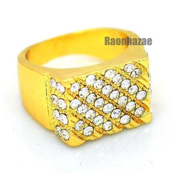 Mens Hip Hop Rapper Chunky Iced Out Solid 14k Gold Plated Ring Size 7   12 N008g