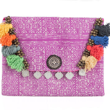 Tribal Clutch Bag with Ethnic Hmong Handmade Batik Fabric in Purple