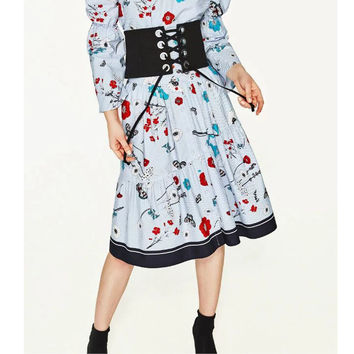 Vintage Sweet Blue Flower Floral Striped Pattern High Waist Button A-Line Skirt Stylish Women Knee-Length Swing Skirt Q17-03-36