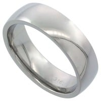 Surgical Steel Plain Wedding Band / Thumb Ring 6mm Domed Comfort-Fit High Polish, sizes 5 - 12