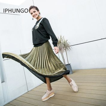 Maxi Autumn Women Pleated Skirts Vintage High Waist Slim Skirt Gold Silver Ladies Elegant Elastic Party Skirt