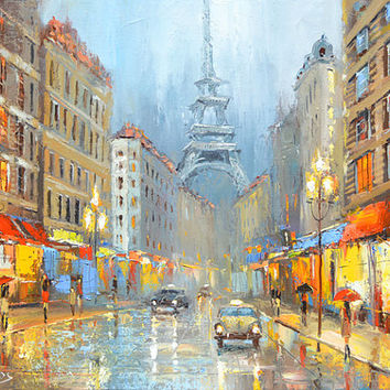 """Night in Paris  — PALETTE KNIFE Oil Painting On Canvas By by Dmitry Spiros. Size: 24"""" x 32""""  (60 x 80 cm)"""