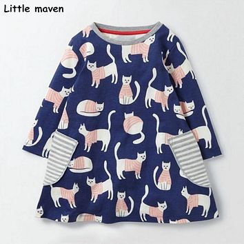 Little maven kids brand clothing 2017 new autumn baby girls clothes Cotton cat print girl A-line stripped pocket dresses S0290