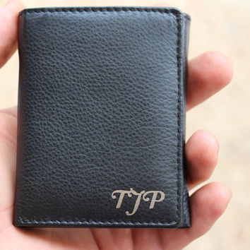 Personalized Tri-Fold Men's Leather Wallet, Mens Laser Engraved Wallet, Groomsmen Gift, Monogram Wallet, Gift for Men, Custom Wallet Man