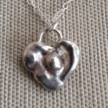 Sterling Silver Heart Necklace Free Form Heart Charm On Sterling  Chain