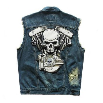HEROBIKER Motorcycle Rider Vest Classic Vintage Motorcycke Jacket Men Club Denim Vest Sleeveless Biker Motorcycle Clothing
