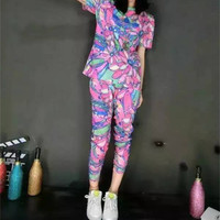 """Adidas"" Women Fashion Casual Letter Multicolor Banana Print Short Sleeve Trousers Set Two-Piece Sportswear"