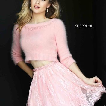 Sherri Hill Short Lace A Line Dress 50549