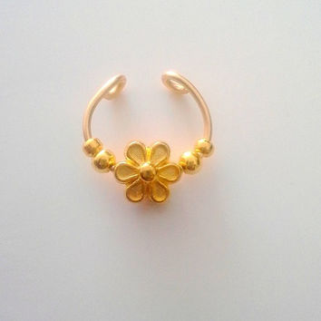 Faux Septum gold daisy Nose Ring Gold Flower beaded No piercing required, -For him/For her