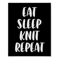 Eat Knit Sleep Repeat dark poster