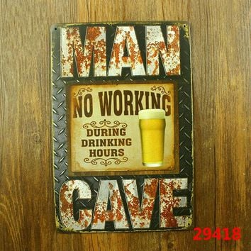 MAN CAVE Vintage Metal Tin Signs Retro Tin Plate Sign Wall Decoration for Cafe HOME Bar and Restaurant vintage home decoration