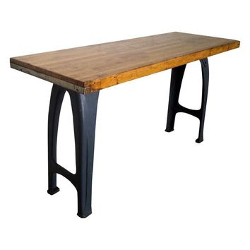 Pre-owned Vintage Industrial Cast Iron Butcher Block Table