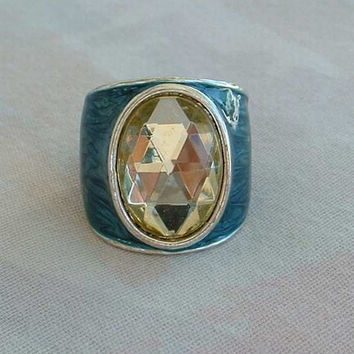 Oval Rose Cut Wide Band Ring Teal Turquoise Enamel Size 6 Vintage Jewelry