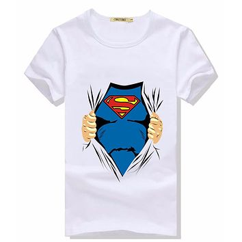 Short Sleeve T Shirt  Men Summer Casual Super Man Cool Mens Tshirt Superman Imprim Slim Fit Tee Shirt Homme De Marque De Luxe
