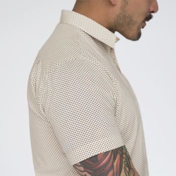 Cream Mini Print Short Sleeve Shirt - FRANKIE