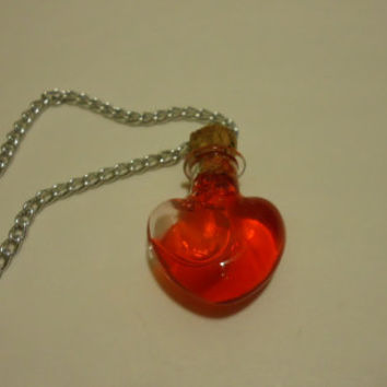 RPG/Video Game Inspired Mini Heart Shaped Health Potion Bottle Necklaces