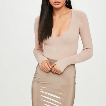 Missguided - Nude Plunge Bodysuit