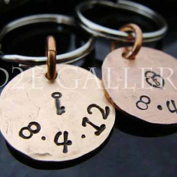 D2E personalized engraved hand stamped his and hers lucky penny anniversary key chains