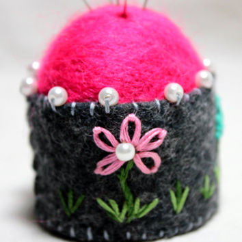 Bottle Cap Pincushion Collectible Miniature  Hand Felted Embroidered With Glass Pearls
