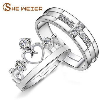 SHE WEIER engagement ring for women men anel female couple finger lord of the rings crown silver male element adjustable watch