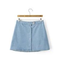 Denim Button Pockets A-Line Mini Skirt