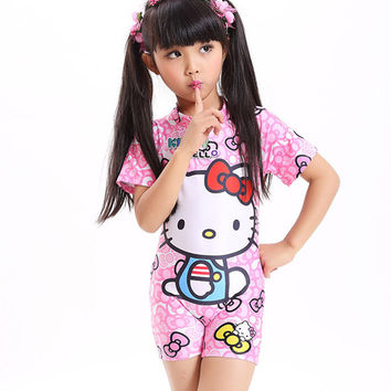 2017 Baby girl one piece swimsuit bow kids bikini set cartoon children swimming toddler beach clothing with hat bathing suit