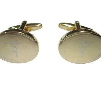 Gold Toned Etched Oval Medical Caduceus Symbol Cufflinks
