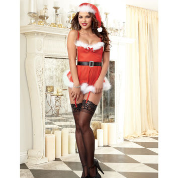 Mesh Santa Apron Babydoll, W-marabou Trim, Attched Grters, Crtchless Thng & Hat Lipstick Red O-s
