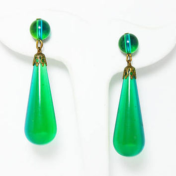 MOD Dangling Teardrop Earrings, Clip On Style Green & Blue Art Glass - Vintage 1960's 1970's MOD Era Jewelry
