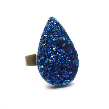Titanium Quartz Cobalt Blue Druzy Ring Teardrop Pear Shape n.2